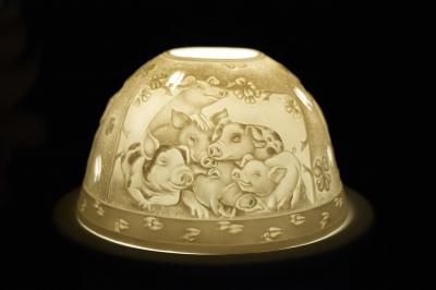 Starlight Nr.295 - Teelicht Windlicht Dekoration Porzellanteelicht Bisquitporzellan Ferkel - 1