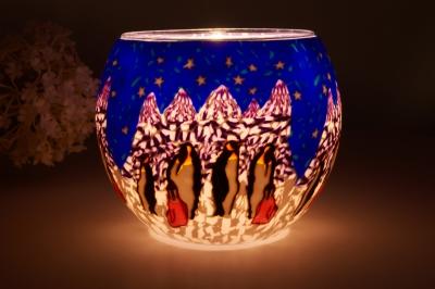 Leuchtglas 21005 Penguin Ø11cm Dekoration Teelicht Windlicht Kerzenfarm Lampe - 1
