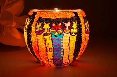 Leuchtglas 21103 Dancing Cats Ø11cm Dekoration Teelicht Windlicht Kerzenfarm - 1