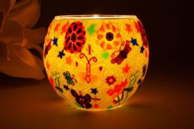 Leuchtglas 21113 Butterfly green Ø11cm Dekoration Teelicht Windlicht Kerzenfarm - 1