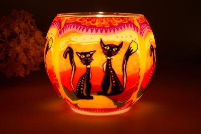 Leuchtglas 21116 two Cats Ø11cm Dekoration Teelicht Windlicht Kerzenfarm Kerze - 1