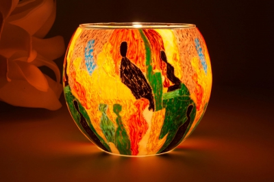 Leuchtglas 21204 People Ø11cm Dekoration Teelicht Windlicht Kerzenfarm Kerze - 1