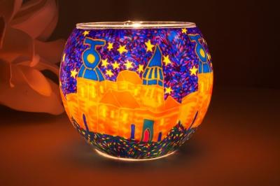Leuchtglas 21308 Spanish Town Ø11cm Dekoration Teelicht Windlicht Kerzenfarm Kerze - 1