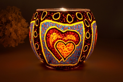Leuchtglas 21309 Hearts Ø11cm Dekoration Teelicht Windlicht Kerzenfarm Kerze - 1