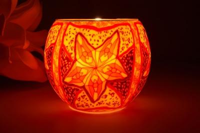 Leuchtglas 21311 Red Star Ø11cm Dekoration Teelicht Windlicht Kerzenfarm Kerze