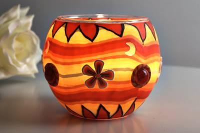 Leuchtglas 21402 orange Flower Ø11cm Dekoration Teelicht Windlicht Kerzenfarm Kerze - 1