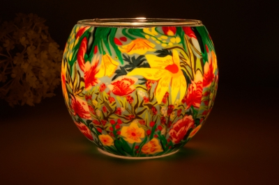 Leuchtglas 21412 Tropical Flowers Ø11cm Dekoration Teelicht Windlicht Kerzenfarm Kerze - 1