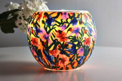 Leuchtglas 21413 Summer Flowers Ø11cm Dekoration Teelicht Windlicht Kerzenfarm Kerze - 1