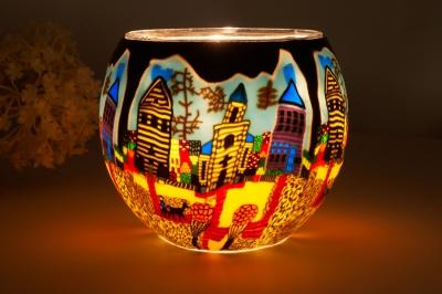 Leuchtglas 21601 Sunday Ø11cm Dekoration Teelicht Windlicht Kerzenfarm Kerze - 1