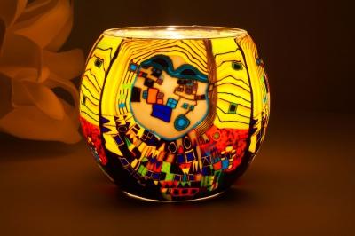 Leuchtglas 21605 Modern Art Yellow Ø11cm Dekoration Teelicht Windlicht Kerzenfarm Kerze - 1