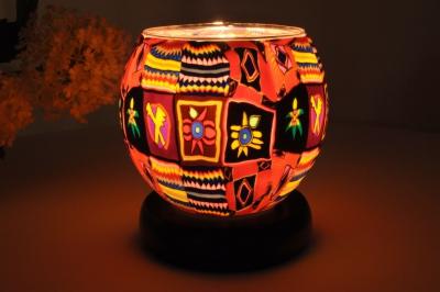 Leuchtglas als Lampe 501 Ethno Ø11cm Dekoration Teelicht Windlicht Kerzenfarm Kerze - 1