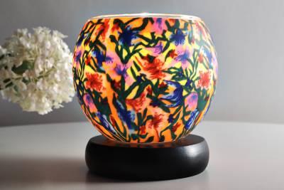 Leuchtglas als Lampe 413 Summer Flowers Ø11cm Dekoration Teelicht Windlicht Kerzenfarm Kerze - 1