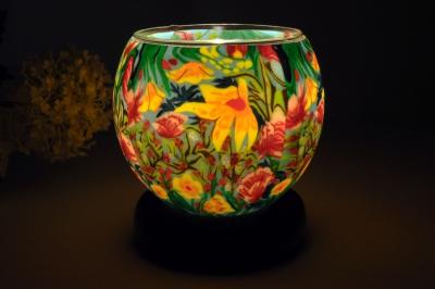 Leuchtglas als Lampe 412 Tropical Flowers Ø11cm Dekoration Teelicht Windlicht Kerzenfarm Kerze - 1