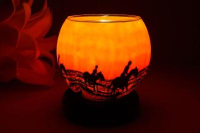 Leuchtglas als Lampe 105 Horses in the sunrise Ø11cm Dekoration Teelicht Windlicht Kerzenfarm - 1