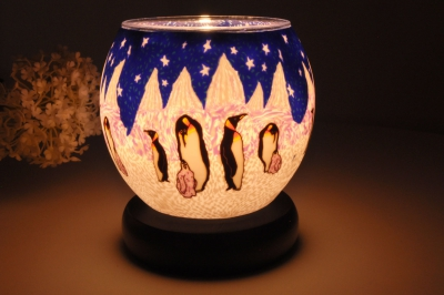 Leuchtglas als Lampe 005 Penguin Ø11cm Dekoration Teelicht Windlicht Kerzenfarm - 1