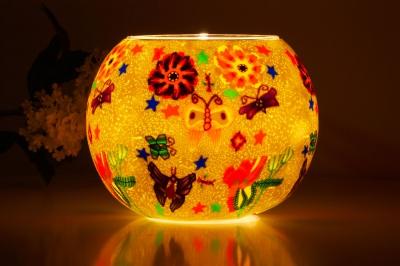 Leuchtglas 113 Butterfly green Ø15cm Dekoration Teelicht Windlicht Kerzenfarm - 1