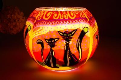 Leuchtglas 116 two cats Ø15cm Dekoration Teelicht Windlicht Kerzenfarm Kerze - 1
