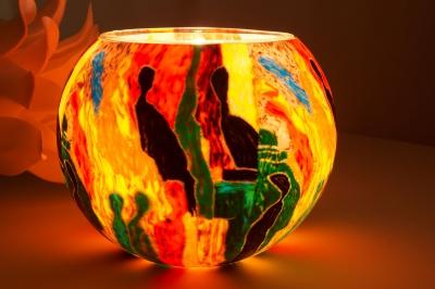 Leuchtglas 204 People Ø15cm Dekoration Teelicht Windlicht Kerzenfarm Kerze - 1
