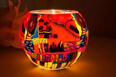 Leuchtglas 606 modern Art red Ø15cm Dekoration Teelicht Windlicht Kerzenfarm Kerze - 1