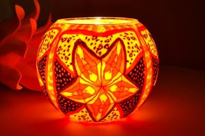 Leuchtglas 311 Red Star Ø15cm Dekoration Teelicht Windlicht Kerzenfarm Kerze - 1