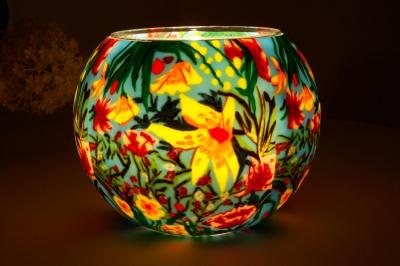 Leuchtglas 412 Tropical Flowers Ø15cm Dekoration Teelicht Windlicht Kerzenfarm Kerze - 1