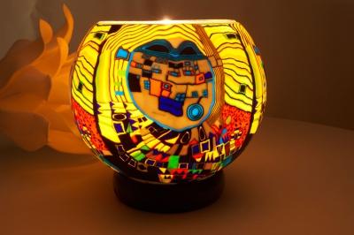 Leuchtglas als Lampe 605 Modern Art gelb Ø15cm Dekoration Teelicht Windlicht Kerzenfarm Kerze - 1