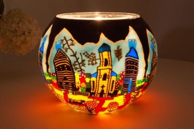 Leuchtglas als Lampe 601 Sunday Ø15cm Dekoration Teelicht Windlicht Kerzenfarm Kerze - 1