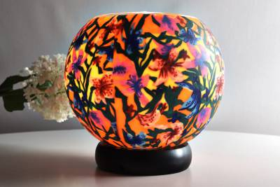 Leuchtglas als Lampe 413 Summer Flowers Ø15cm Dekoration Teelicht Windlicht Kerzenfarm Kerze - 1