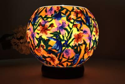 Leuchtglas als Lampe 413 Summer Flowers Ø15cm Dekoration Teelicht Windlicht Kerzenfarm Kerze