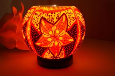 Leuchtglas als Lampe 311 Red Star Ø15cm Dekoration Teelicht Windlicht Kerzenfarm Kerze - 1