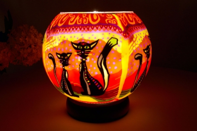 Leuchtglas als Lampe 116 two cats Ø15cm Dekoration Teelicht Windlicht Kerzenfarm Kerze - 1