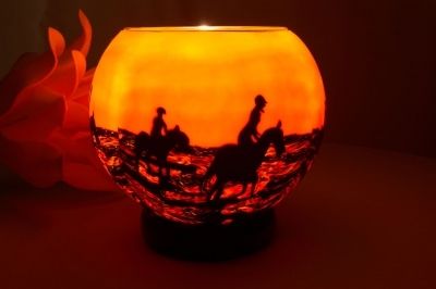 Leuchtglas als Lampe 105 Pferde im Sonnenuntergang Ø15cm Dekoration Teelicht Windlicht Kerzenfarm - 1