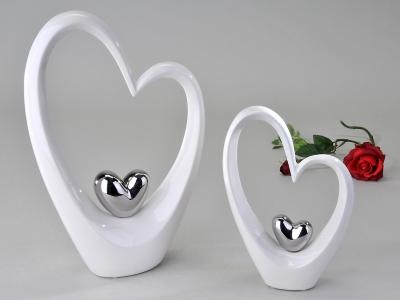 Formano Herz stehend weiss, silber, stehend, Keramik DekoObjekt, Geschenk