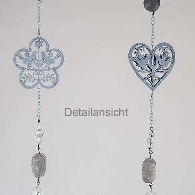 Set Formano Windlicht Teelichthalter Hänger mit Herz grau + Stein, Metall - 1