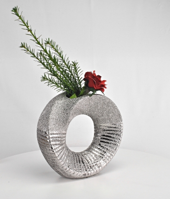 Set Formano Vase rund, Silber, modern edel, Tischdekoration, Blumenvase - 1