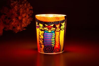 Leuchtglas für Teelicht 103 Katzen Ø5,8cm Deko Teelichtleuchte Windlichthalter Lampe - 1