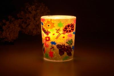 Leuchtglas für Teelicht 113 Butterfly Ø5,8cm Deko Teelichtleuchte Windlichthalter Lampe - 1