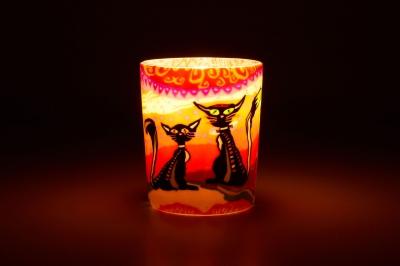 Leuchtglas für Teelicht 116 Two Cats Ø5,8cm Deko Teelichtleuchte Windlichthalter Lampe - 1