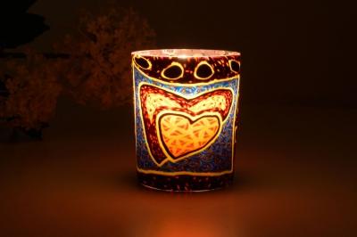Leuchtglas für Teelicht 309 Hearts Ø5,8cm Deko Teelichtleuchte Windlichthalter Lampe - 1