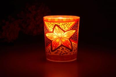 Leuchtglas für Teelicht 311 Red Star Ø5,8cm Deko Teelichtleuchte Windlichthalter Lampe - 1