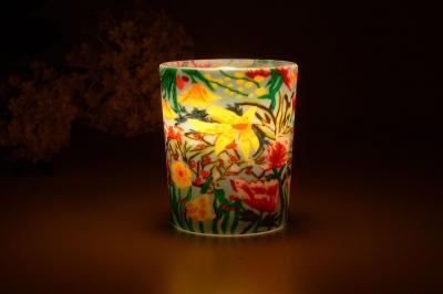 Leuchtglas für Teelicht 412 Tropical Flowers Ø5,8cm Deko Teelichtleuchte Windlichthalter Lampe - 1