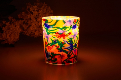 Leuchtglas für Teelicht 413 Summer Flowers Ø5,8cm Deko Teelichtleuchte Windlichthalter Lampe - 1