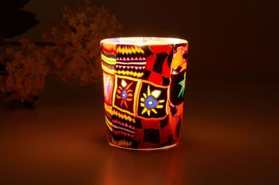 Leuchtglas für Teelicht 501 Ethno Ø5,8cm Deko Teelichtleuchte Windlichthalter Lampe - 1