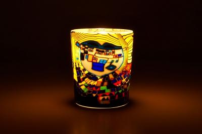 Leuchtglas für Teelicht 605 Modern Art yellow Ø5,8cm Teelichtleuchte Windlichthalter - 1