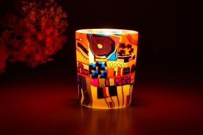 Leuchtglas für Teelicht 606 Modern Art red Ø5,8cm Teelichtleuchte Windlichthalter - 1