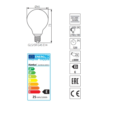 Glühlampe, Glühbirne, Birnenform, 25 Watt, E14, Lampe - 1