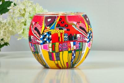 Leuchtglas 21606 Modern Art Red Ø11cm Dekoration Teelicht Windlicht Kerzenfarm Kerze - 1