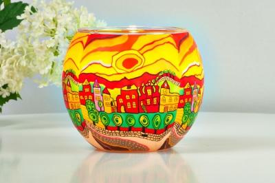 Leuchtglas 21631 Sunny Afternoon Ø11cm Dekoration Teelicht Windlicht Kerzenfarm Kerze - 1