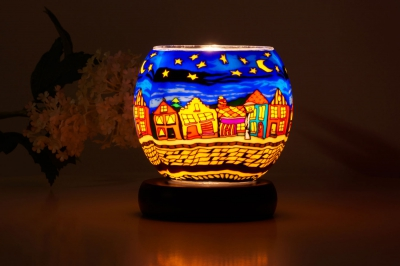 Leuchtglas Lampe 630 Strasse in der Nacht Ø11cm Dekoration Teelicht Windlicht Kerzenfarm - 1