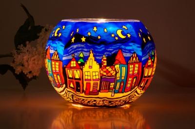 Leuchtglas 630 Street by Night Ø15cm Dekoration Teelicht Windlicht Kerzenfarm Kerze - 1